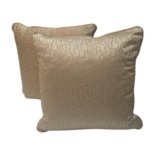 Modern Geometric Satin Pillows- A Pair