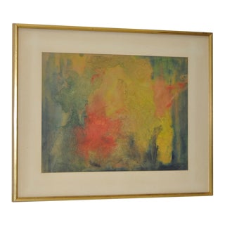 1965 Mid Century Modern Mixed Media Abstract Painting