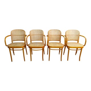 Vintage Thonet Style Bentwood Cane Armchairs- Set of 4