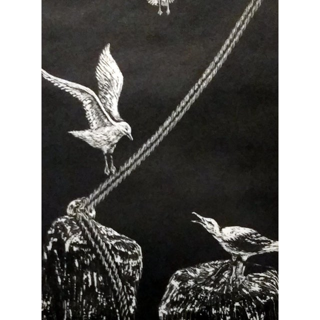 "Jane Heckett ""Seagulls"" Knife Etching - Image 4 of 9"