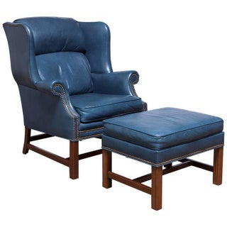 French Chippendale Blue Wing Chair & Ottoman