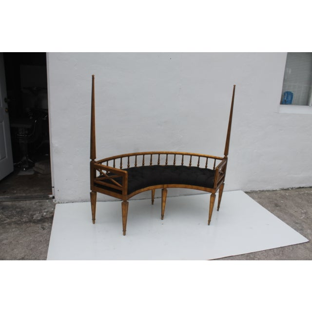 French Antique Curved Two Poster Giltwood Settee - Image 9 of 11