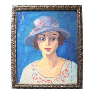 1950s Anna Costa French Oil Portrait of a Woman