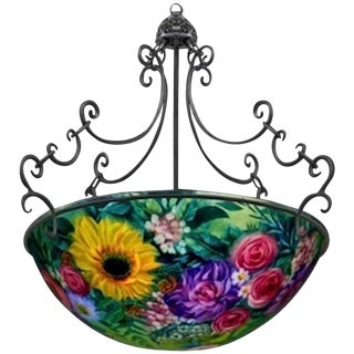 "M Darni Signed ""Floral Green"" Chandelier"