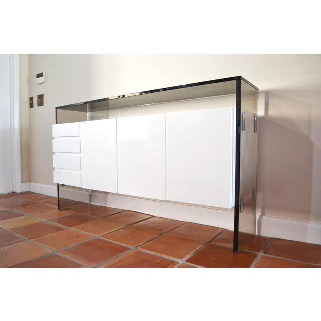 Milo Baughman Lucite and Glass Credenza - Image 4 of 7