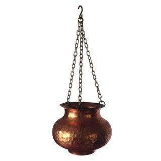 Vintage Hammered Copper Hanging Planter
