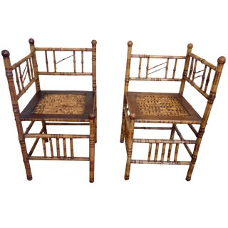 Antique Victorian Scorched Bamboo Chairs - A Pair