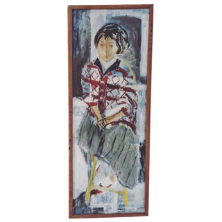 Postmodern Oil Painting of a Woman Figure