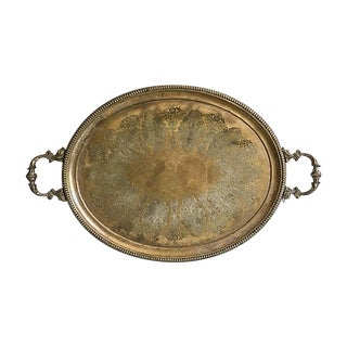 Oversized Antique Brass Engraved Tray