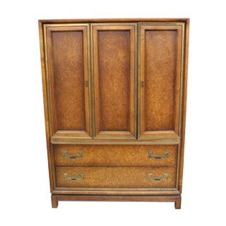 Mid Century Modern Burl Wood Highboy Dresser