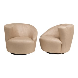 A Pair of Vladimir Kagan designed Nautilus Swivel Chairs 1980s