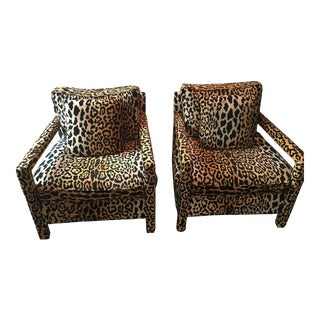 Milo Baughman for Thayer Coggin Leopard Parsons Chairs - A Pair