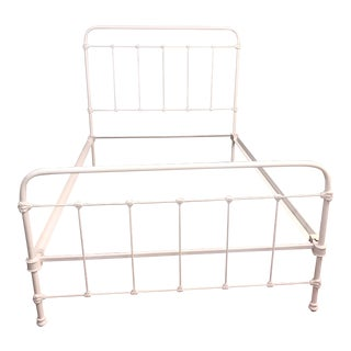 Antique Shabby Chic White Iron Full Bed Frame