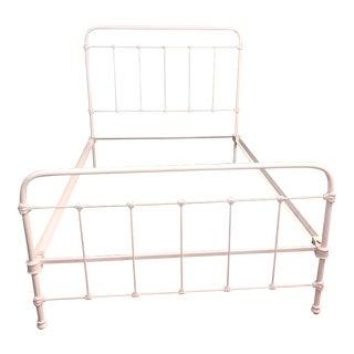 Antique Shabby Chic White Iron Full Bed Frame