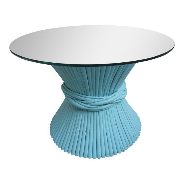 Vintage Sheaf of Wheat Blue Rattan Table Base - Image 10 of 11