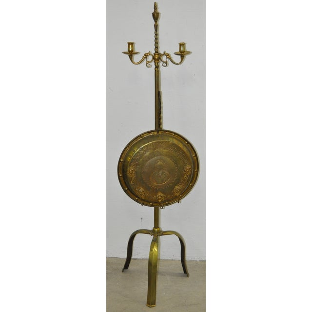 Image of 19th C. Hand Forged Brass Fire Screen/Candelabra