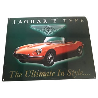 Vintage Enameled Jaguar Sign