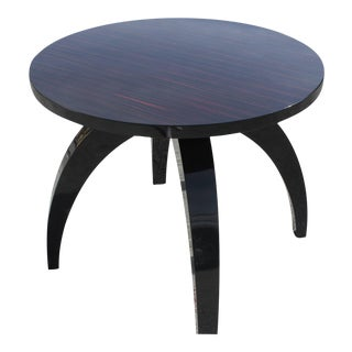 Art Deco Macassar Ebony Round Center Table