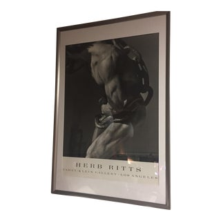 "Herb Ritts ""Man With Chain Fahey"" Framed Lithograph"