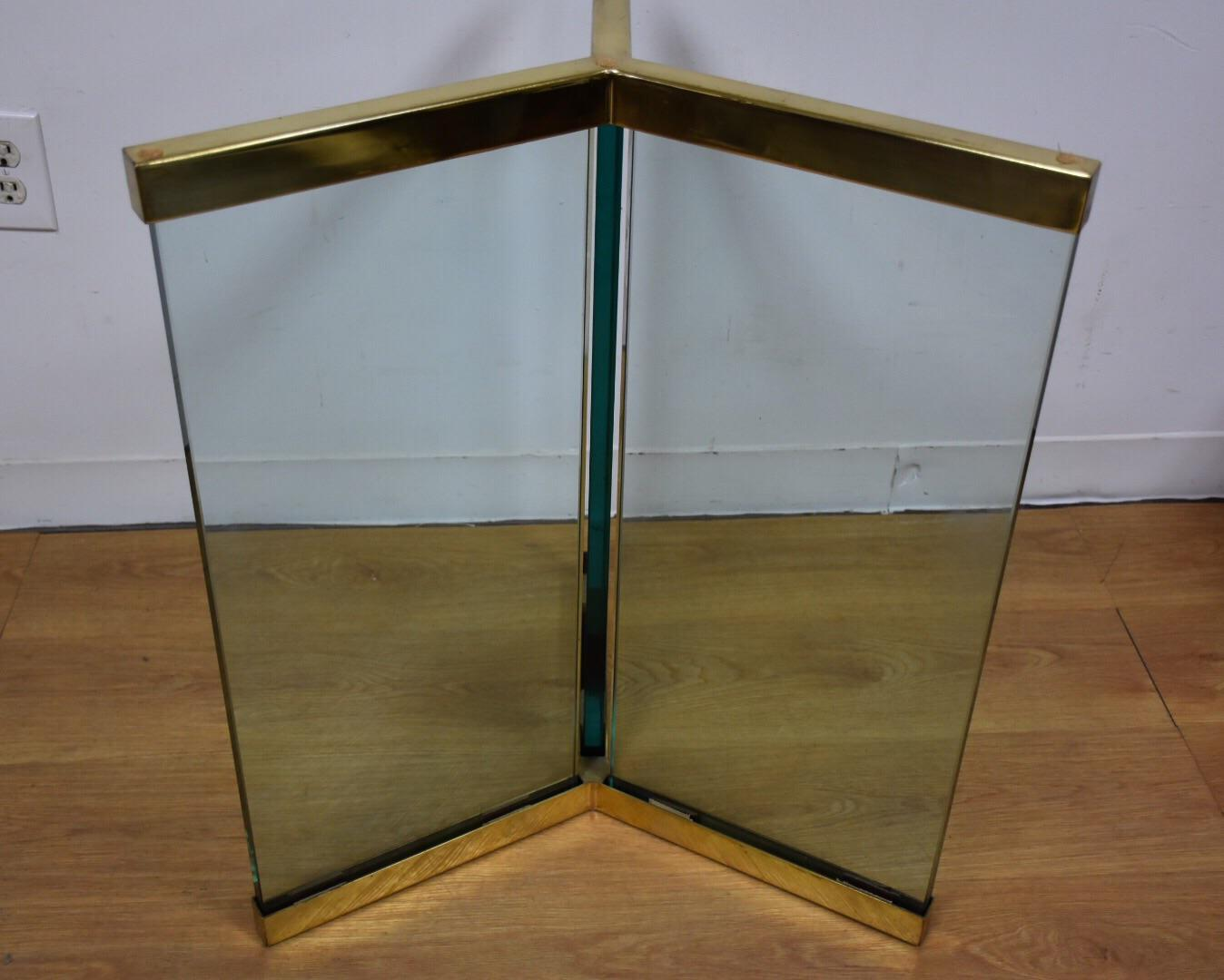 Leon Rosen Pace Modern Glass U0026 Brass Pedestal Table Base   Image 4 ...