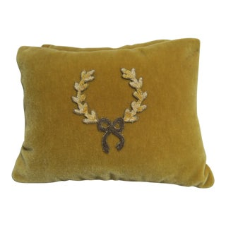 Pair of Mustard Mohair Velvet Pillows w/ Appliques
