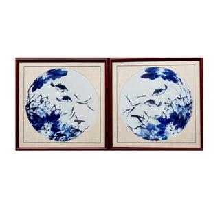 Blue & White Porcelain Fish Panels - A Pair