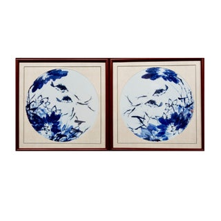 Blue & White Porcelain Fish Panels - A Pair