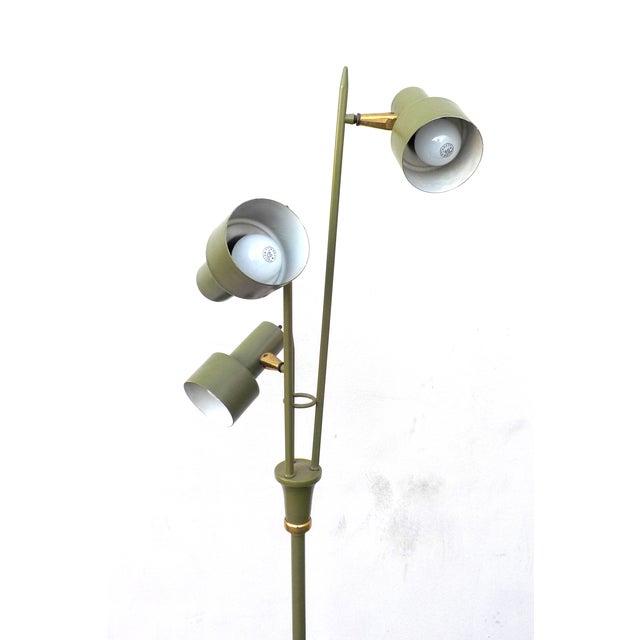 Image of Mid Century Modern Green 3 Headed Floor Lamp