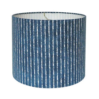 New, Made to Order, Magnolia Home Skyfall Navy Striped Fabric in Navy, Medium Drum Lamp Shade