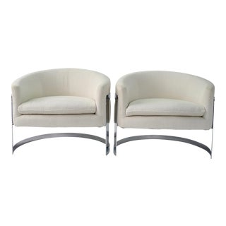 Milo Baughman Mid-Century Modern Cantilever Barrel Back Lounge Chairs- A Pair
