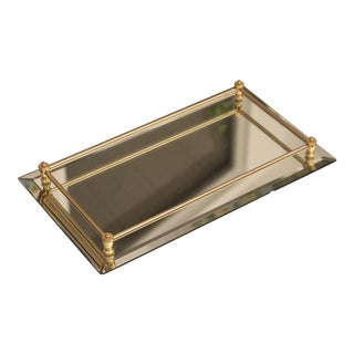 Mirrored Glass Vanity Tray with Gold Railing