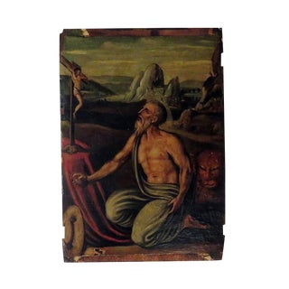 Oil on Board of Saint Jerome with Lion in Wilderness