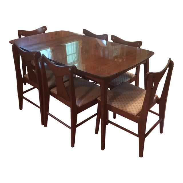 Danish Modern Dining Table With Glass Protector & Chairs
