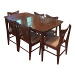 Image of Danish Modern Dining Table With Glass Protector & Chairs