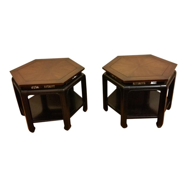 Hollywood Regency Hexagonal End Tables - a Pair - Image 1 of 8