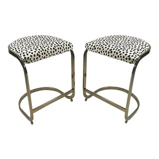 Milo Baughman Style Brass Cantilever Stools - A Pair