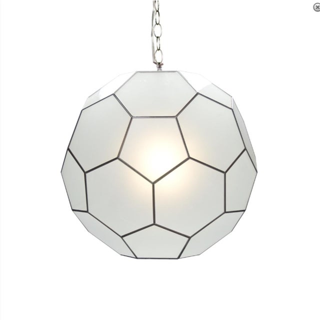 Frosted Glass Pendants - A Pair - Image 2 of 2