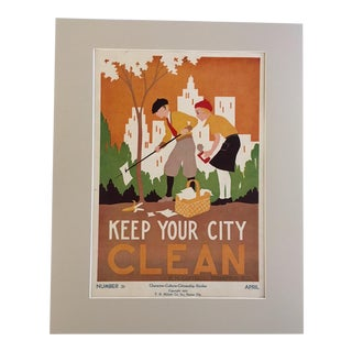 "Vintage 1930's ""Keep Your City Clean"" Classroom Poster"