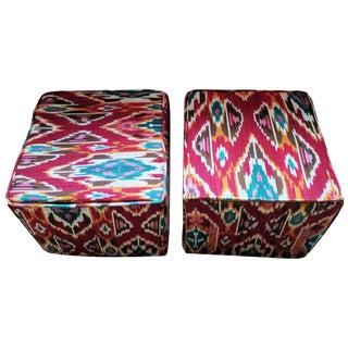 Ikat Cube Ottomans - A Pair