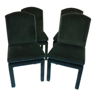 Milo Baughman Emerald Green Jewel Tone Velvet Dining Chairs - Set of 4