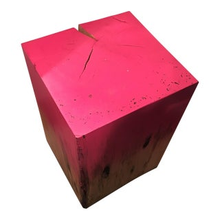 Solid Wood Pink Ombré Painted Stool