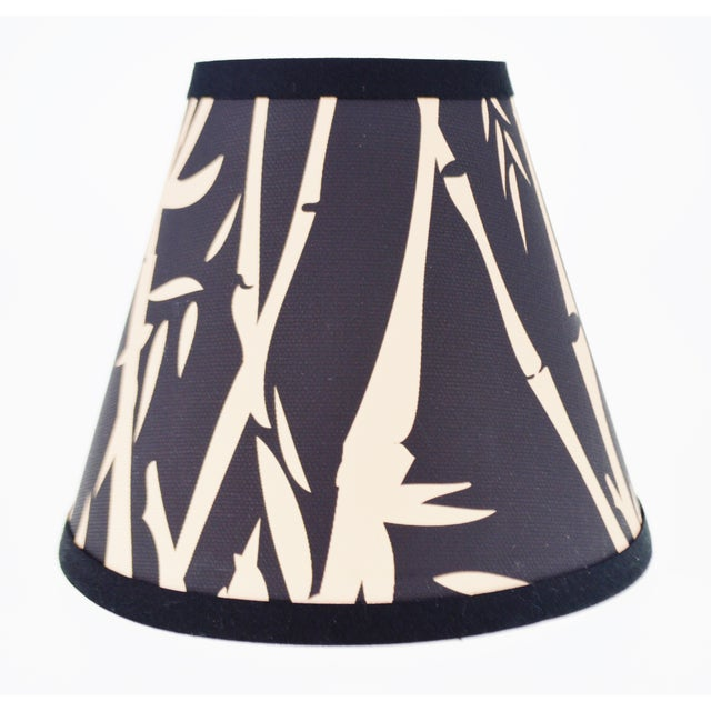 Black & Tan Bamboo Design Chandelier Shades - Set of 6 - Image 4 of 7