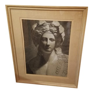 Circa 1900 French Classical Charcoal Drawing of Young Bacchus