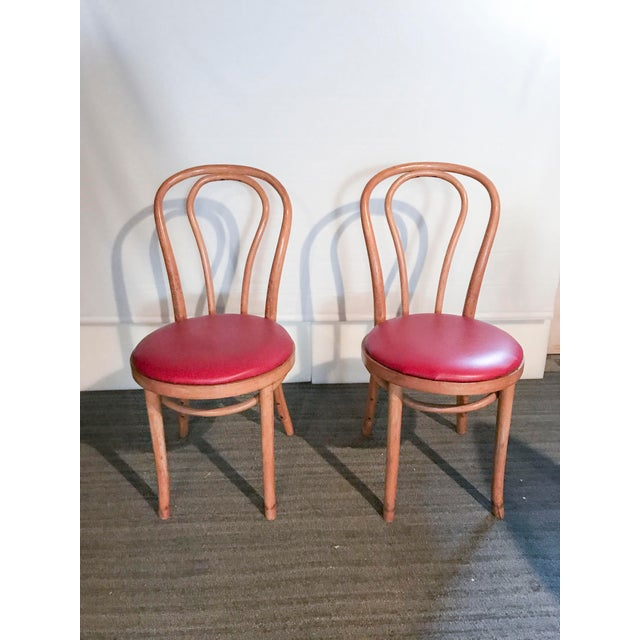Thonet Style Bentwood Upholstered Chairs - a Pair - Image 2 of 9