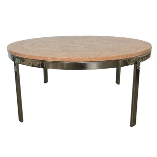 Chrome & Marble Circular Coffee Table
