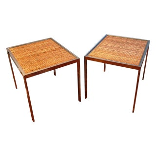 Milo Baughman Style Chrome & Woven Rattan Side Tables - a Pair