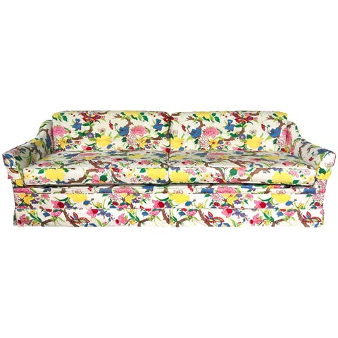 Image of La La Land Hollywood Regency Botanical Floral Print Dorothy Draper Sleeper Sofa