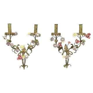 19th Century Antique French Tole & Porcelain Floral Sconces - Pair