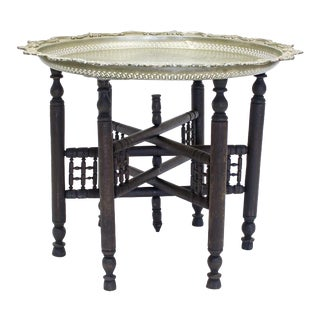 Moroccan Tea Table with Etched Silver Tone Tray
