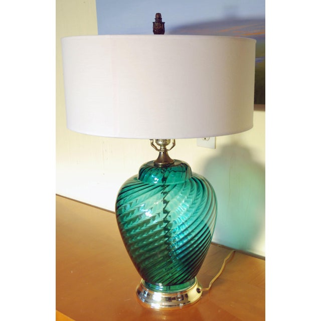 Image of Vintage Teal Glass Table Lamp